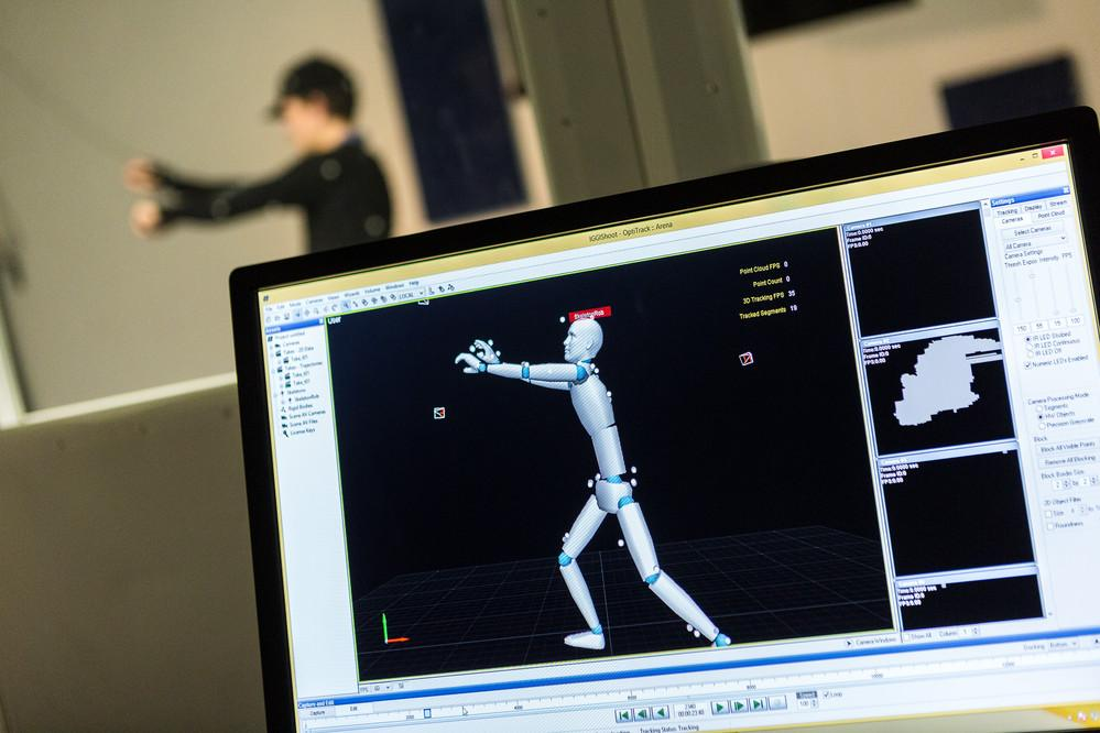 A student tests out motion capture.